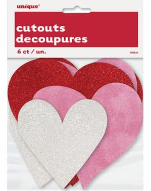 3 forskellige glitter hjerter