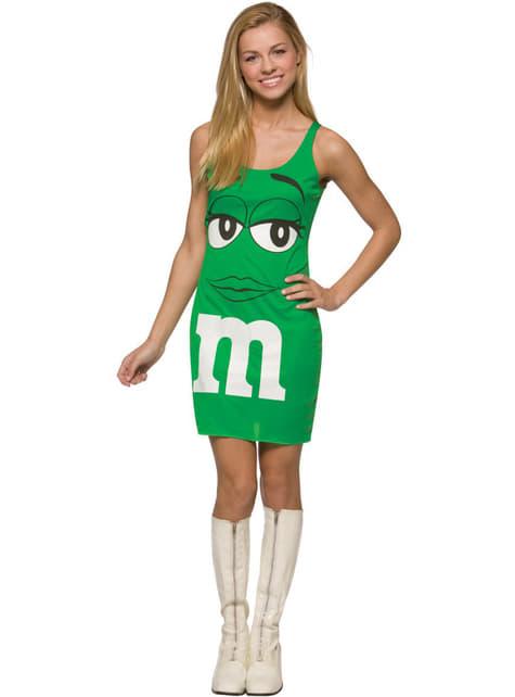 Grønn M&Ms Kjole Kostyme Voksen