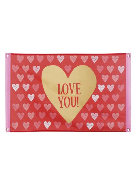 דגל בד עם לבבות - Love You