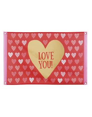 Steag din pânză cu inimioare - Love You