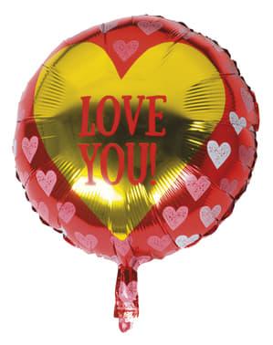 Metallic Luftballon mit Herzen - Love You