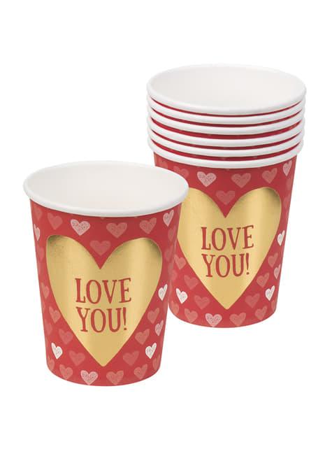 Conjunto de 6 copos com corações – Love You