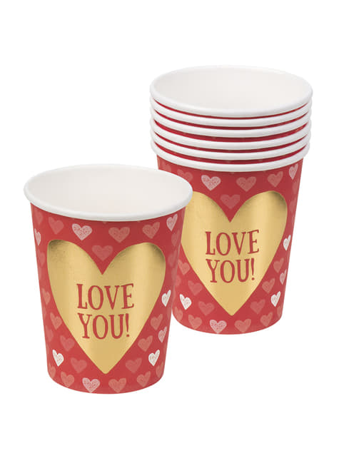 Set of 6 cups with hearts - Love You