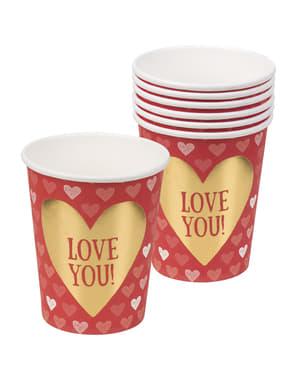 Sett med 6 kopper med hjerter - Love You
