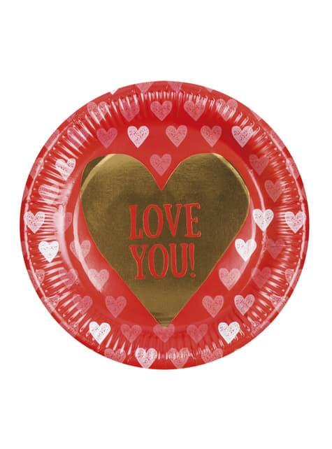Conjunto de 6 pratos com corações – Love You