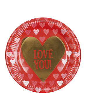 6 plates with heart (23 cm) - Love You