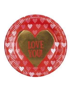 Sett med 6 tallerkener med hjerter - Love You