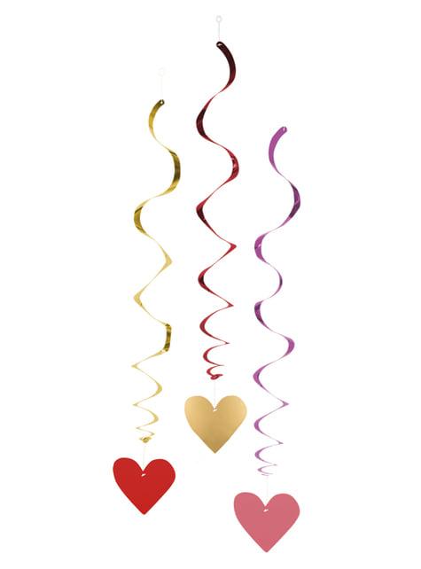 3 addobbi da appendere di cuori- Love You