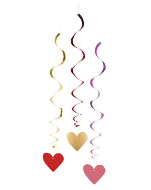 Sada 3 závěsných dekorací se srdíčkem - Love You