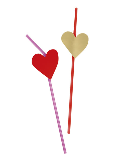 Set of 6 straws with heart decoration - Love You