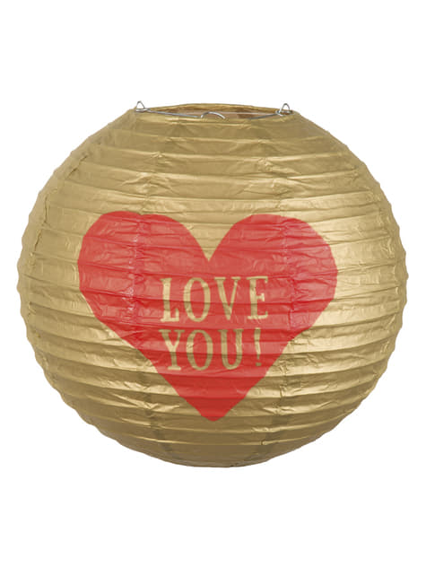 Farol esférico de papel con corazón -Love You