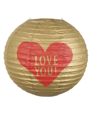 Felinar sferic de hârtie cu inimă - Love You