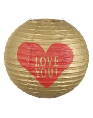 Сферичен книжен фенер със сърце - Обичам те