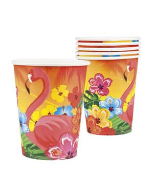 Комплект от 6 хавайски чаши за фламинго - Hibiscus