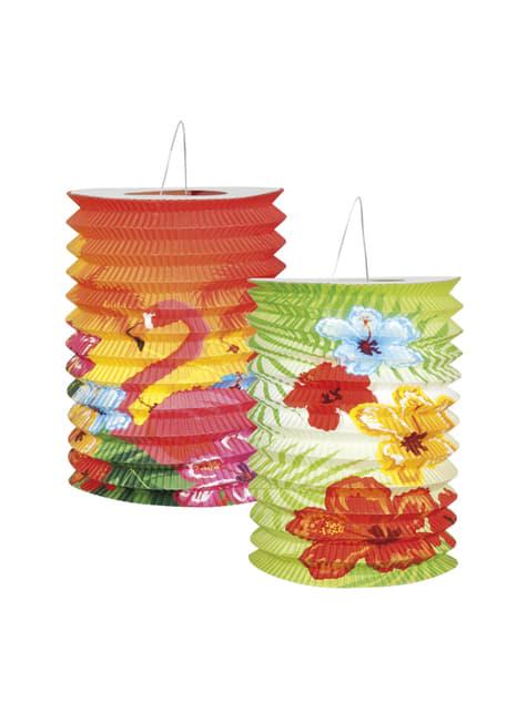 Set of 2 Hawaiian flamingo lanterns - Hibiscus