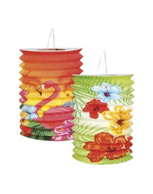2 lampions flamant rose Hawaï - Hibiscus
