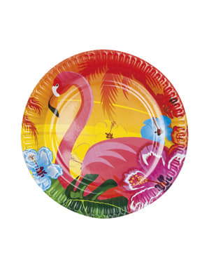 Sett med 6 Hawaii flamingo tallerkener - Hibiscus