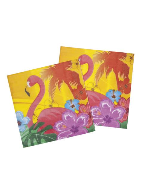 12 Serviettes en papier flamant rose Hawaï - Hibiscus