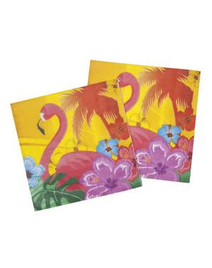 Комплект от 12 хавайски салфетки за фламинго - хибискус