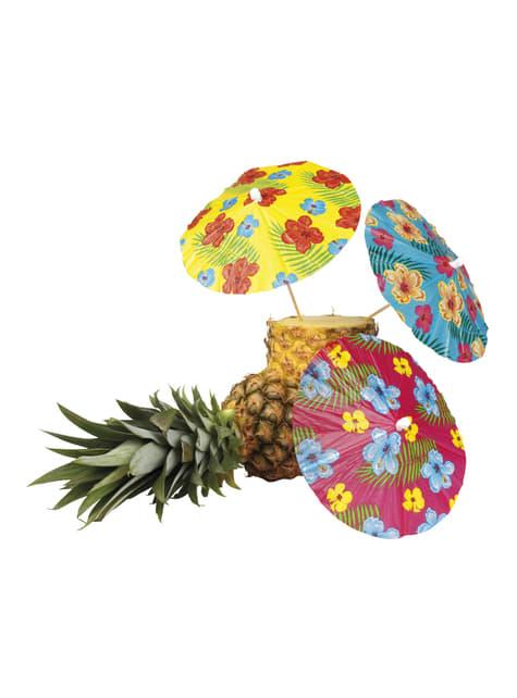 Conjunto de 6 sombrinhas decorativas havaianas - Hibiscus