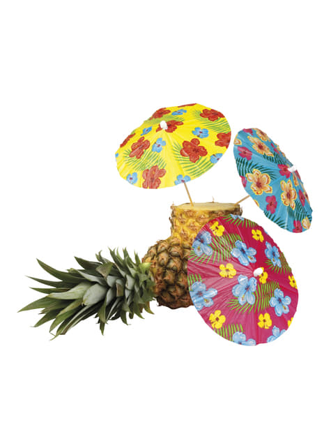 Set of 6 Hawaiian decorative umbrellas - Hibiscus