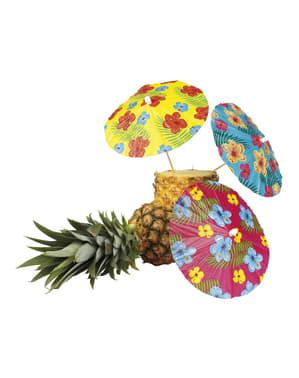 Sett med 6 Hawaii dekorative paraplyer - Hibiscus