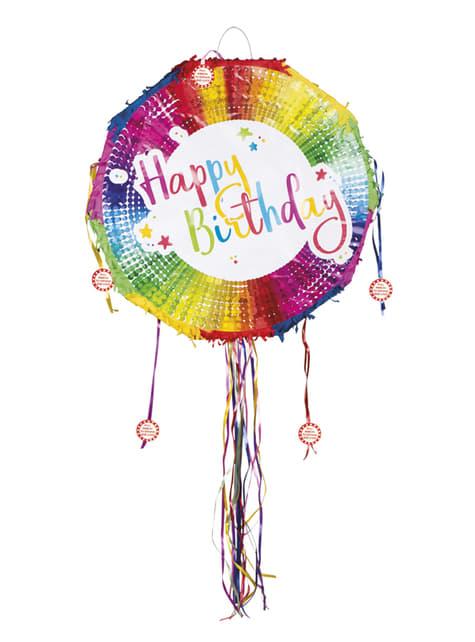 Multicoloured Happy Birthday Piñata