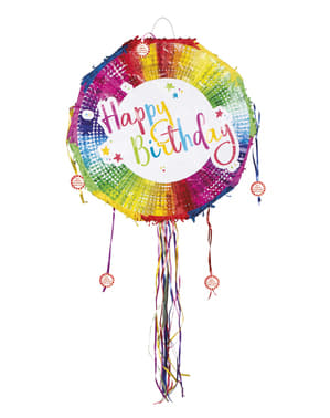 Multicoloured Happy Birthday Piñata