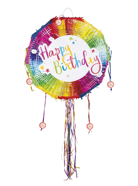 Piñata multicolor Happy Birthday - para tus fiestas