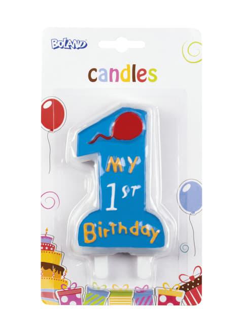My 1st Birthday kaars in het blauw