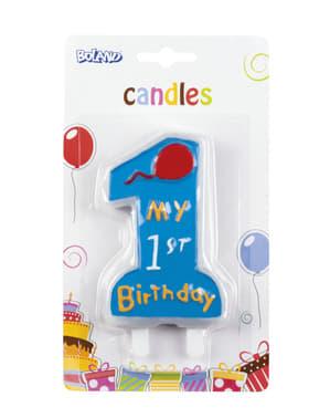 Bougie 1 My 1st Birthday bleu