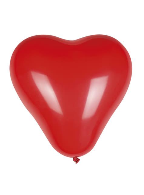 Set de 6 globos de látex con forma de corazón