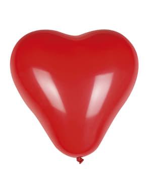Sett med 6 Hjerte Latex Ballonger