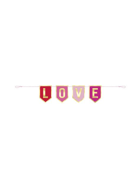 Guirlande métalisée love rose et dorée - My Love