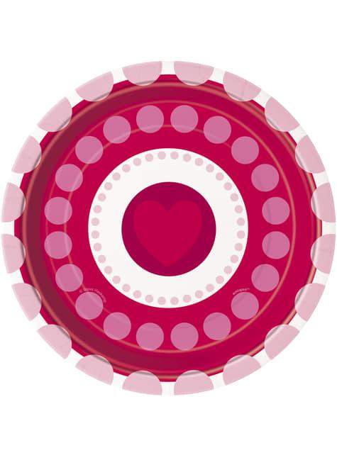 8 talerze deserowe w serca i kropki - Radiant Hearts