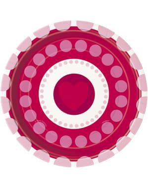 Sada 8 dezertních talířků se srdíčky a puntíky - Radiant Hearts