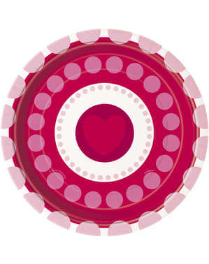 8 dessertborden met hartjes en polka dot (18 cm) - Stralende Harten