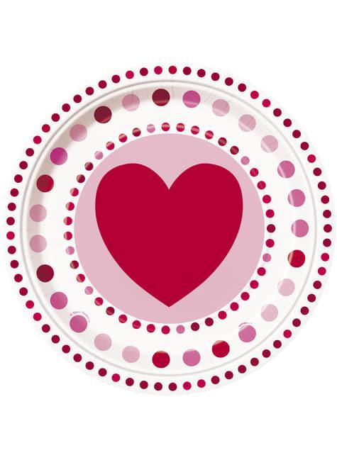 8 platos con corazones y lunares (23 cm) - Radiant Hearts