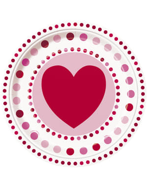 8 plates with hearts and polka dot (23 cm) - Radiant Hearts