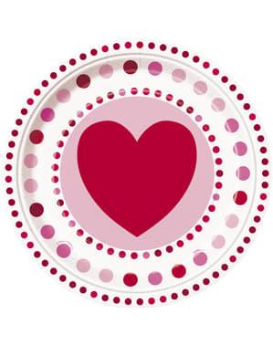 סט 8 צלחות עם לבבות מנוקדים - קורן לבבות