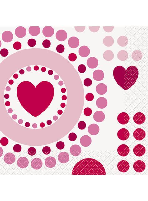 Conjunto de 16 guardanapos com corações e pintas - Radiant Hearts