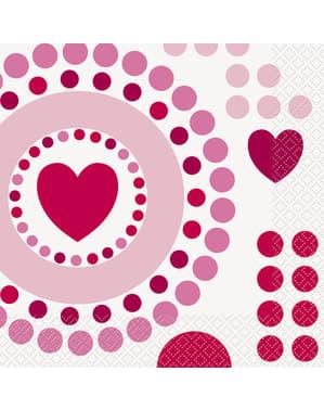 16 servetter med hjärtan och prickar (33x33 cm) - Radiant Hearts