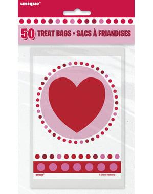 Комплект от 50 торбички със сърца и точки за полка - Radiant Hearts