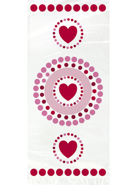 20 bolsas de celofán con corazones y lunares - Radiant Hearts