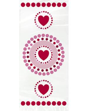 Набір з 20 целофанових мішків з серця і горошок - Сяючий серця