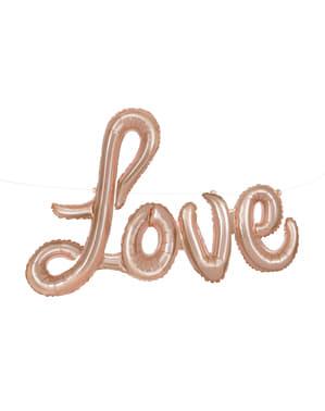 Balon Folie Love roz auriu