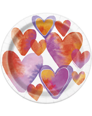 8 plates with watercolour heart (23 cm) - Watercolour Hearts