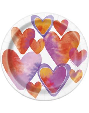 סט 8 צלחות עם לבבות בצבעי מים - לבבות צבעי מים