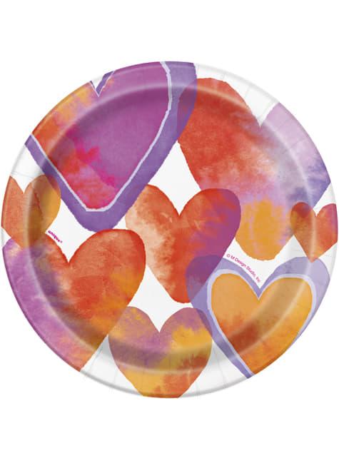 8 talerze deserowe w serca - Watercolour Hearts
