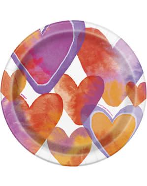 סט 8 צלחות קינוח עם לבבות בצבעי מים - לבבות צבעי מים